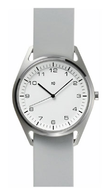 analog watch, stainless steel, gray leather strap