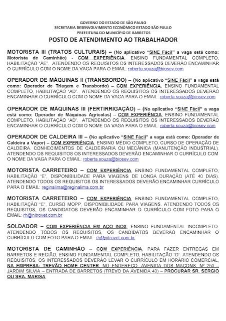 VAGAS DE EMPREGO DO PAT BARRETOS PARA 04-09-2020 PUBLICADAS NA TARDE DE 03-09-2020 - PAG. 6