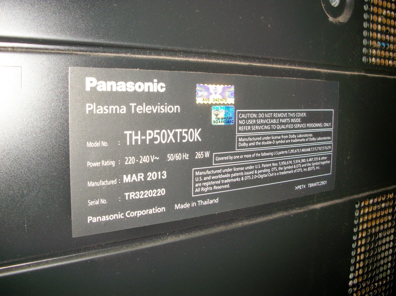 New Driver: Panasonic Viera TH-P50XT50K TV