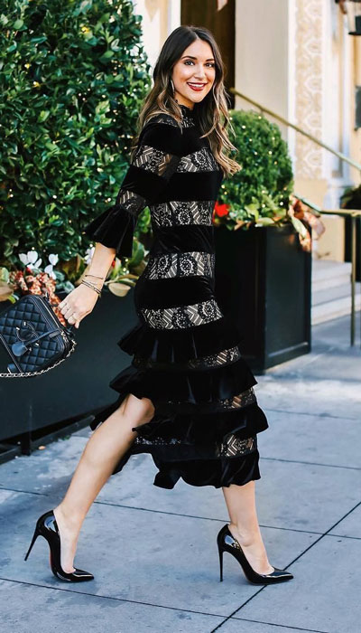 To get the perfect New Year Eve Instagram photo all you need is a trendy outfit and saying cheese. Have a look at these 21 New Year Eve Outfits for Your Next Holiday Party. Holiday Fashion via higiggle.com | black lace midi dress | #holiday #fashion #newyear #mididress