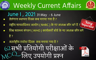 Weekly Current Affairs ( June I , 2021 )