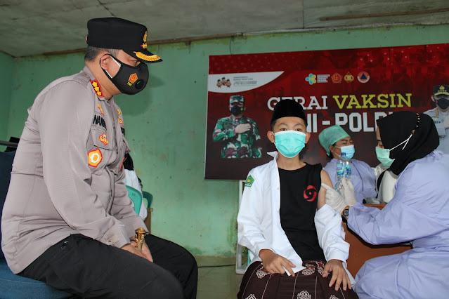 Untuk Menekan Penyebaran Cluster Baru, Polres Pekanbaru Bangun Gerai Vaksin di Pondok Pesantren Nurul Huda