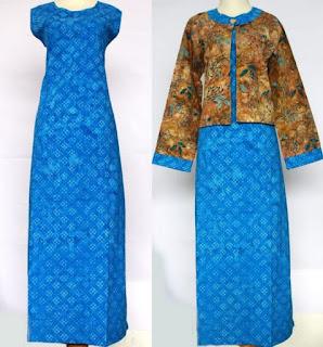 Model Gamis Batik Kombinasi Blazer simpel