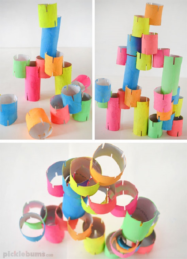 Toilet paper roll construction tower