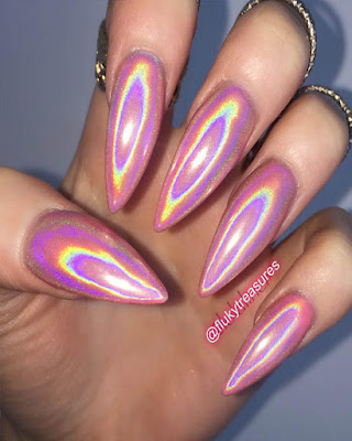 uñas espejo rosa rainbow juvenil tumblr