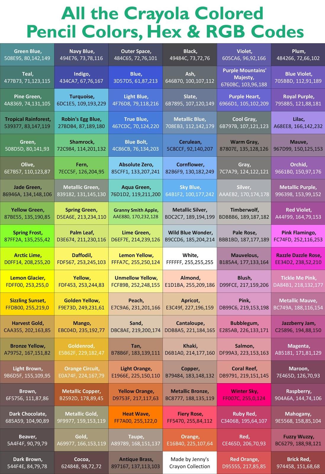 complete list of current crayola colored pencil colors