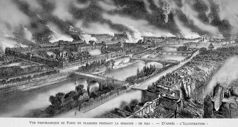 """Paris incendiada pelos """"communards"""" (adeptos do comunismo) em 1871."""