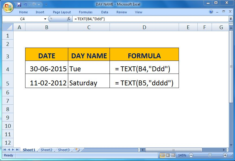 Excel Map Get Day Name From Date
