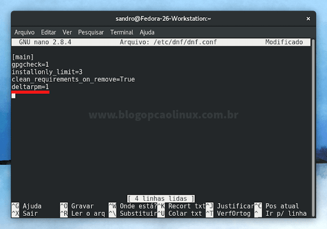 Habilitando o Delta RPM no Fedora 26 Workstation