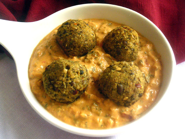 Urad Bean and Quinoa Kofta with Coconut Fenugreek Sauce