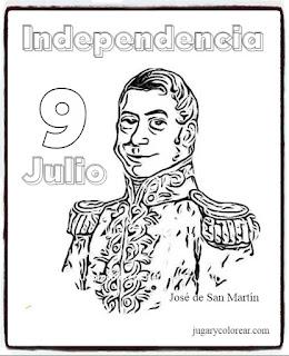 colorear San Martín Argentina 9 de Julio