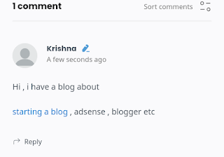 Demo of links in blogger comment