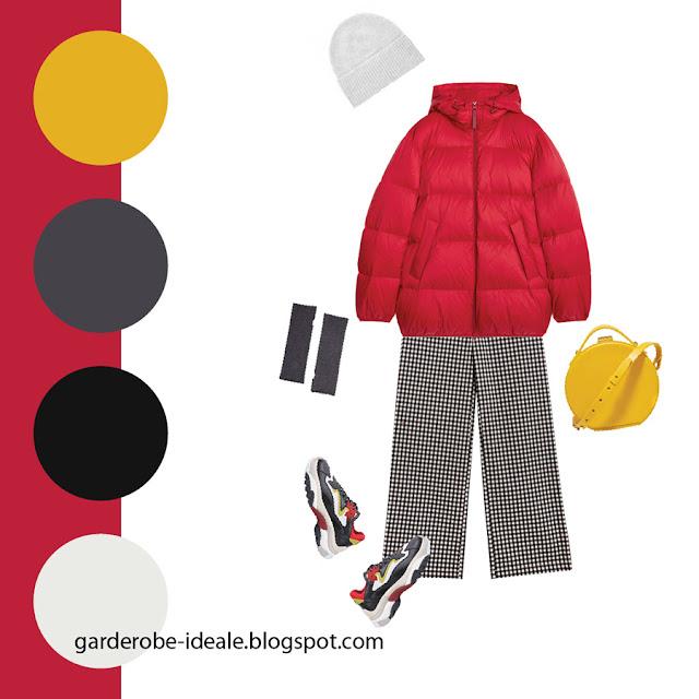 Сочетание красного пуховика и желтой сумки