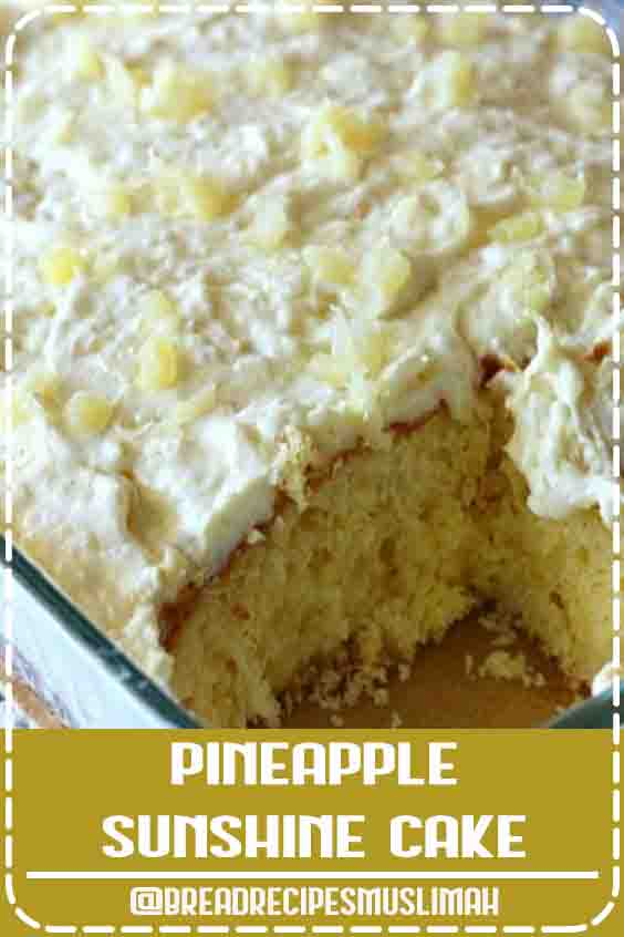 This Pineapple Sunshine Cake is a light and fluffy pineapple-infused cake, topped with a sweet and creamy whipped cream frosting. This cake is always a crowd pleaser! #Fruit #Bread #Recipes #breakfast