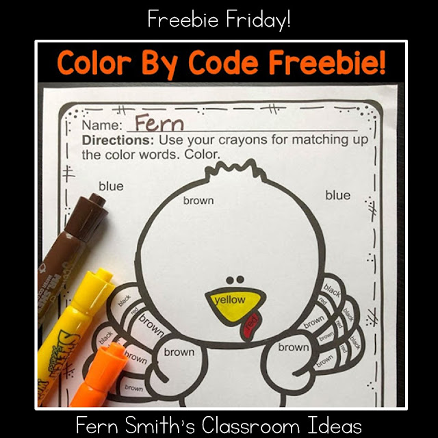 Thanksgiving Color By Code Kindergarten Know Your Color Words Freebie