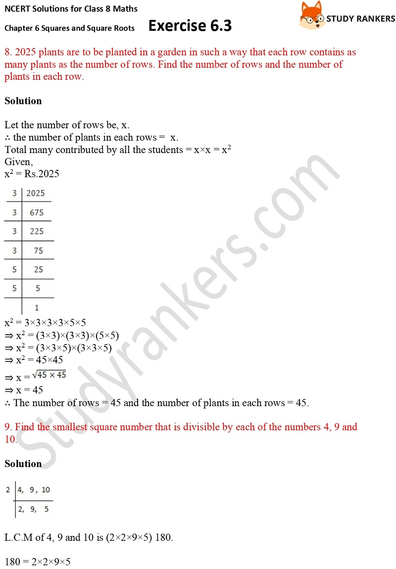 NCERT Solutions for Class 8 Maths Ch 6 Squares and Square Roots Exercise 6.3 19