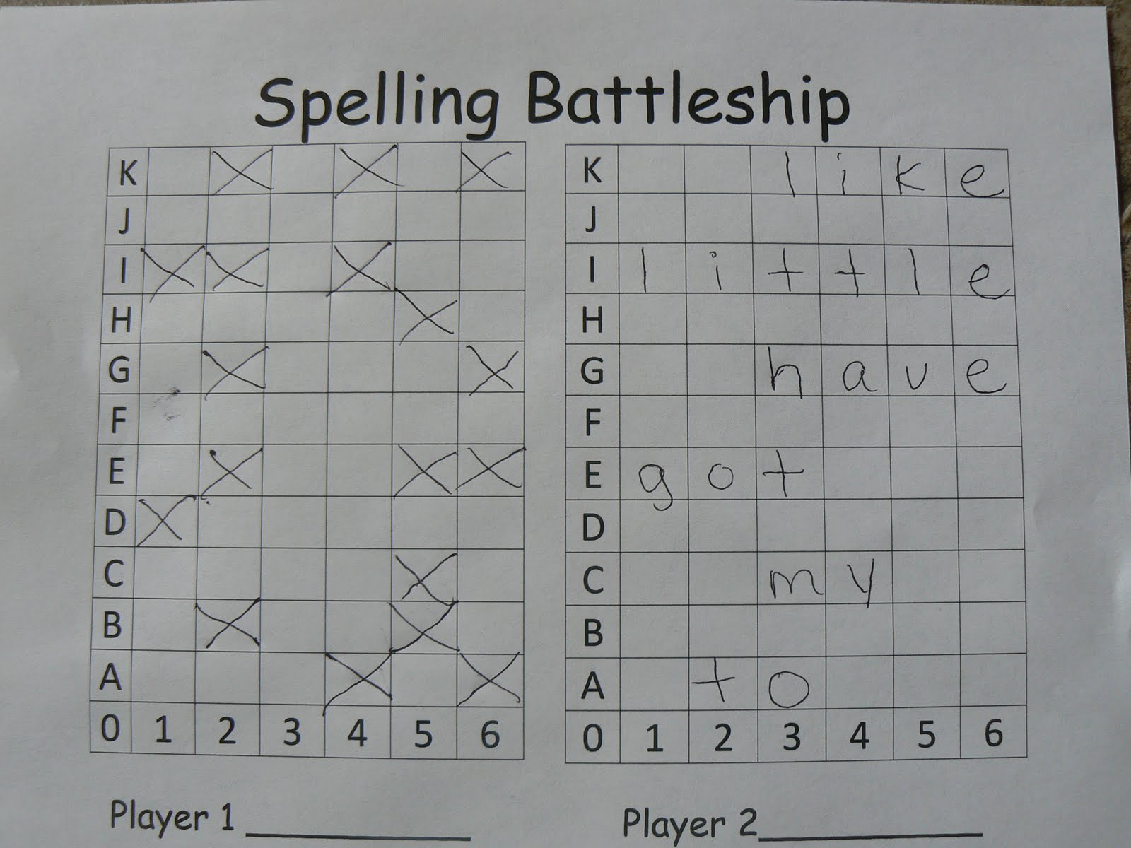 Mrs T S First Grade Class Spelling Battleship