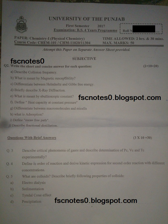 BS (Hons) Chemistry Past Papers Semester 1 Chemistry I (Physical Chemistry) fscnotes0 Asad Hussain