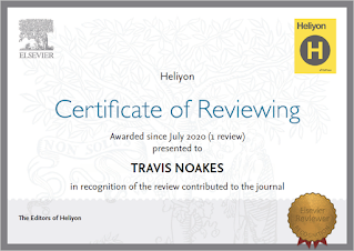 Heliyon certificate of reviewing