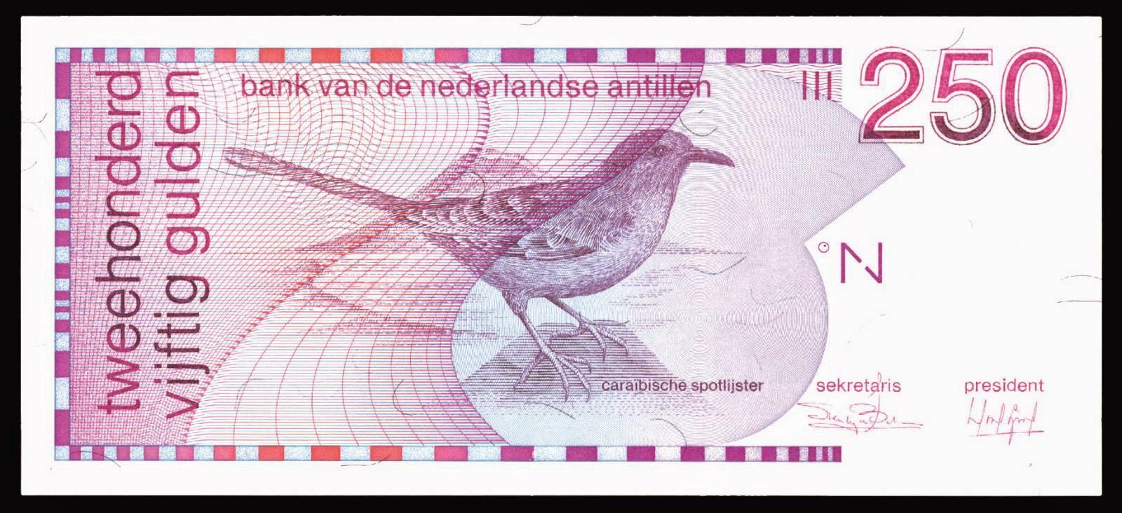 Netherlands Antilles banknotes 250 Guilder note 1986 bird