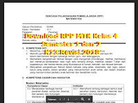 Download RPP MTK Kelas 4 Semester 1 dan 2 K13 Revisi 2018