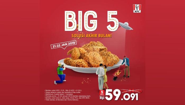 Promo KFC BIG 5 cuma Rp 59.091