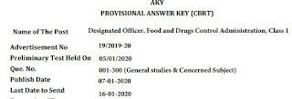 GPSC Designated Officer, Food and Drugs Control Administration, Class 1 Answer Key 2020