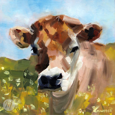 Buttercup cow oil painting by Merrill Weber