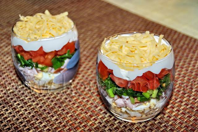 рецепт салата с ветчиной, помидорами и сыром