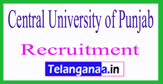 Central University of Punjab CUP Recruitment Notification 2017