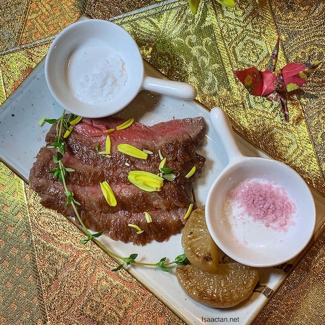 Shizakana: Grilled Wagyu Maksusakaushi with Wasabi Soy Sauce