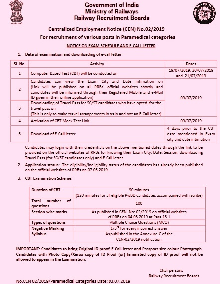 RRB Secunderabad Paramedical CBT Exam Admit Card 2020 Roll No.: rrbsecunderabad.nic.in