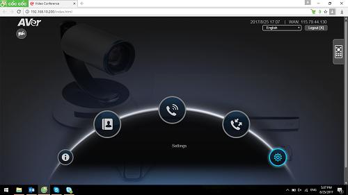 Giao diện web của thiết bị hội nghị truyền hình AVer SVC Series