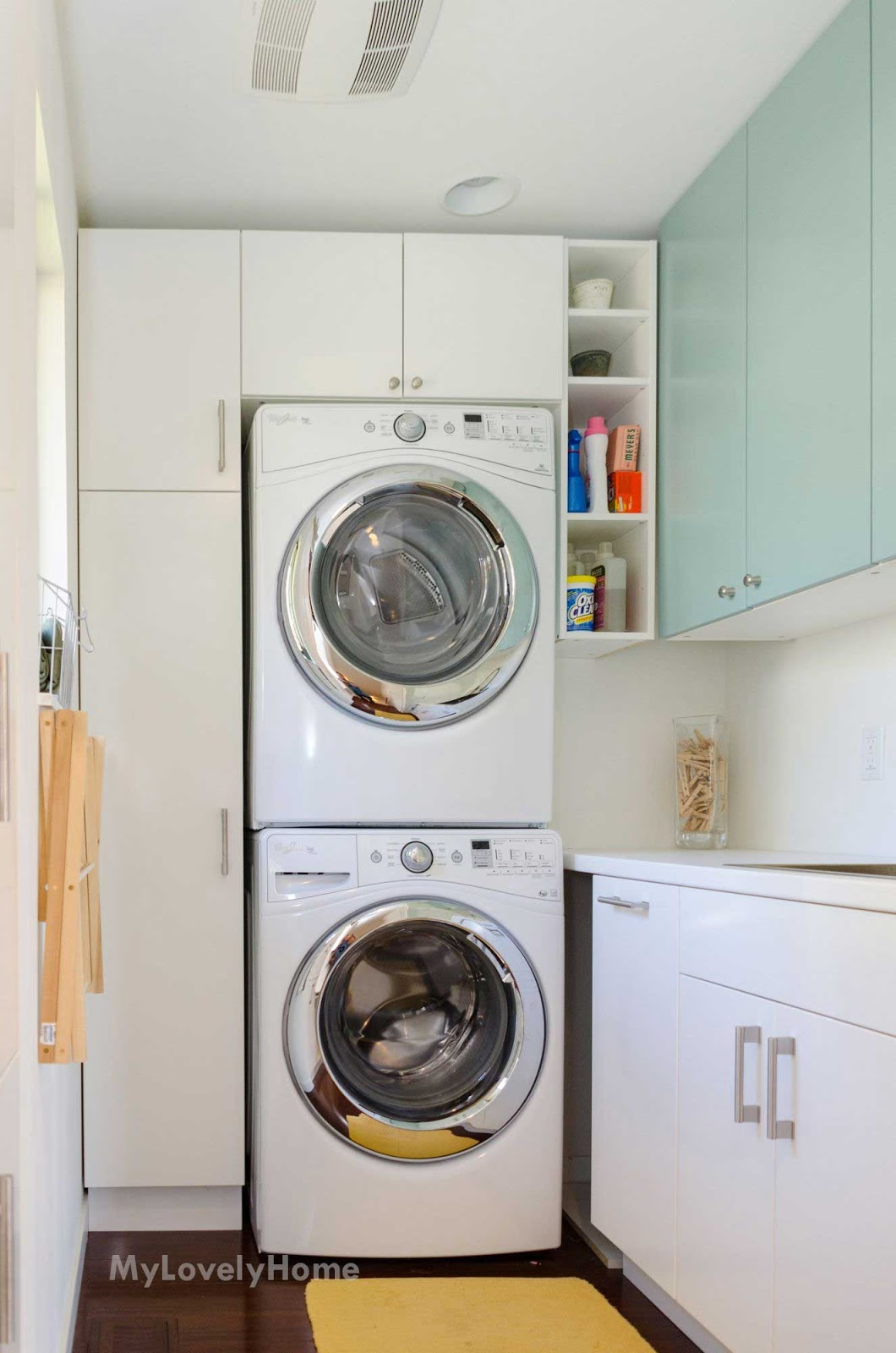 Stackable Washer and Dryer Cabinet - Washing Machine ... on Small Space Small Bathroom Ideas With Washing Machine id=24918