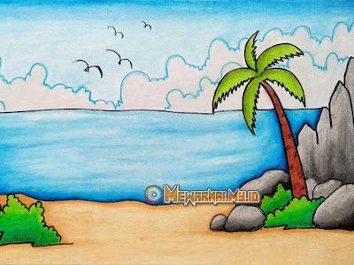 mewarnai pemandangan pantai dengan crayon
