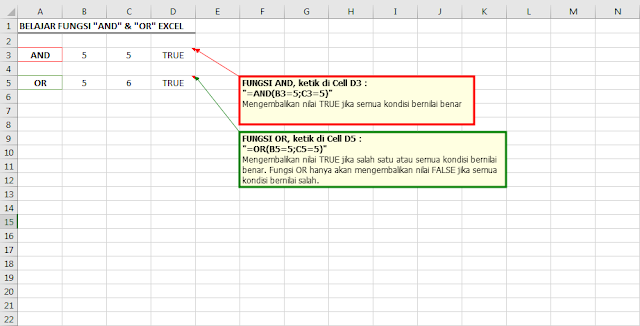 Belajar fungsi AND dan OR Excel