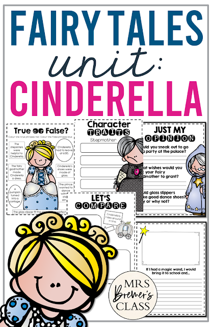 Cinderella Fairy Tales unit with Common Core aligned literacy activities for First Grade and Second Grade