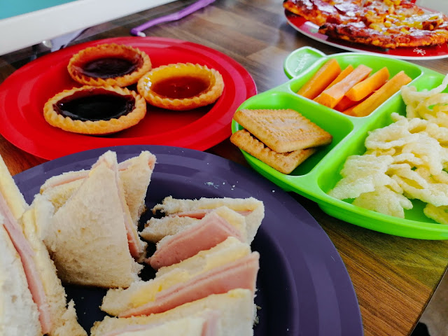 Selection of picnic food on plates