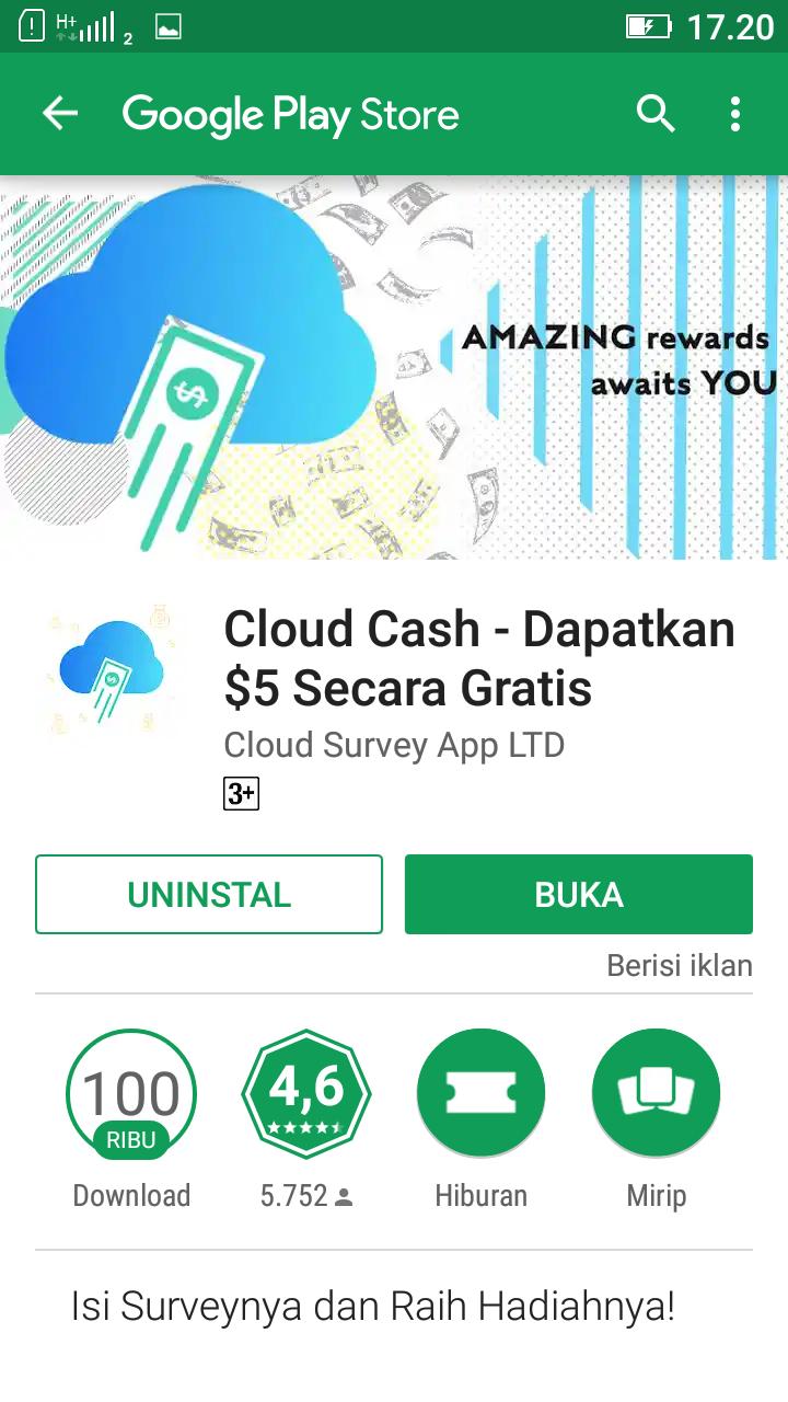 Aplikasi Cloud Cash Bagi Bagi Pulsa Hadiah Code 100 Cash Kwai Go
