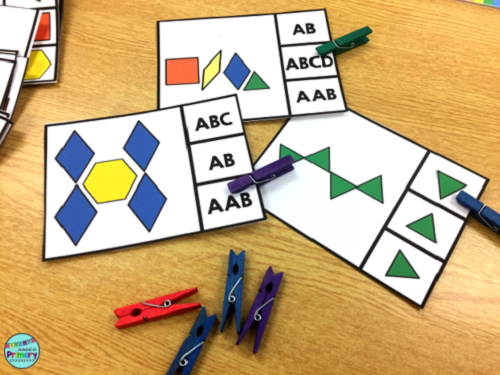 Clip card patterning centers work on extending and naming geometric patterns.