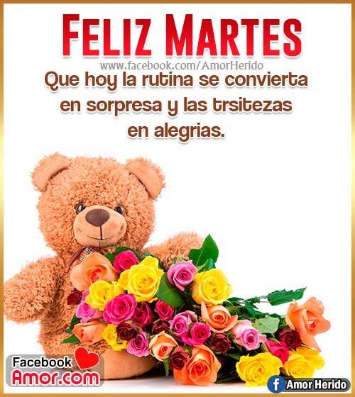 feliz martes flores de rosas
