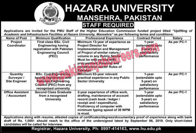Hazara University Mansehra | Jobs In Khyber Pakhtunkhwa