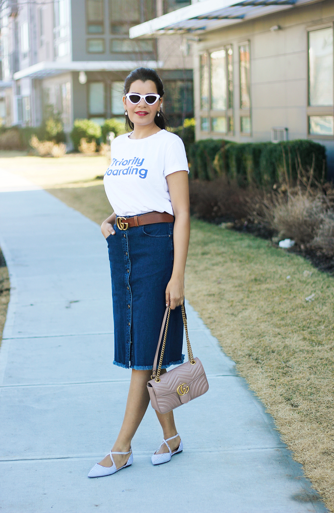 Denim skirt, Button front denim skirt, denim skirt with front pockets, eShakti Denim skirt, Zara Priority Boarding tee, Gucci Belt, Gucci Marmont soft rose double flap bag
