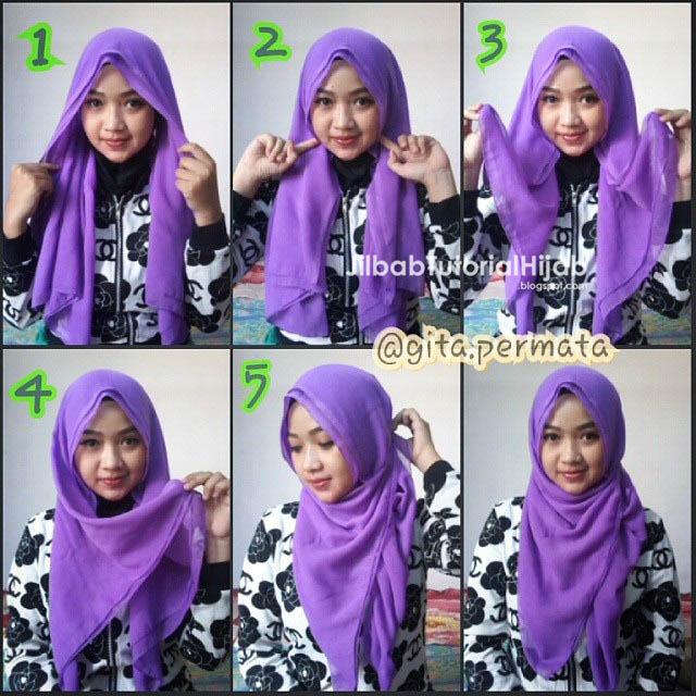 yang simple dan sanggup digunakan untuk banyak sekali aktifitas sehari 6 Tutorial Hijab Segi Empat Sederhana