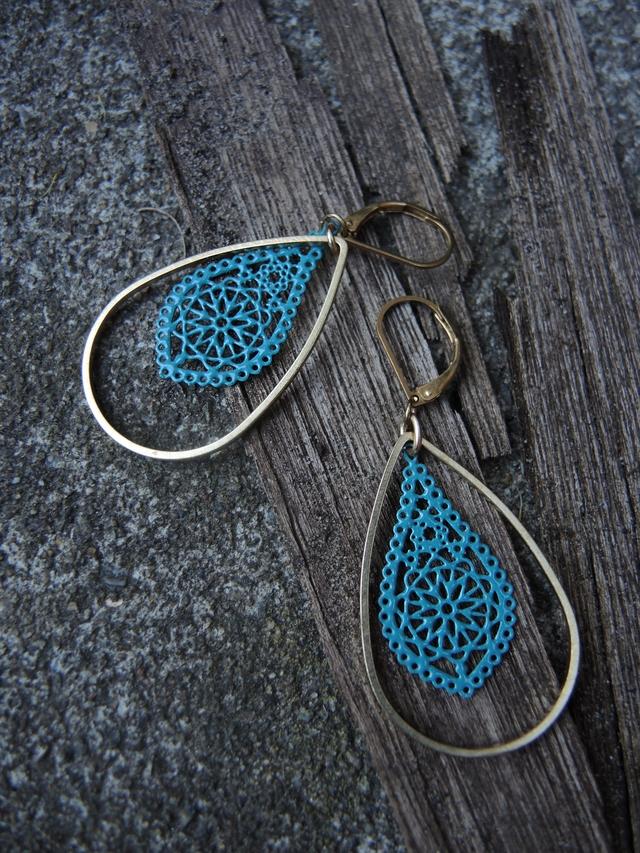 DIY oorbellen/earrings 'blauwe kant'