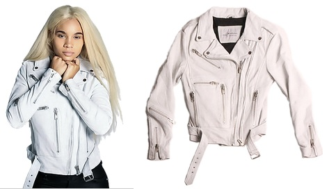 Women's White Leather Moto Jacket