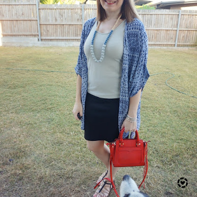 awayfromtheblue | navy printed kimono for night out over metallic tank black pencil skirt red micro avery tote bag