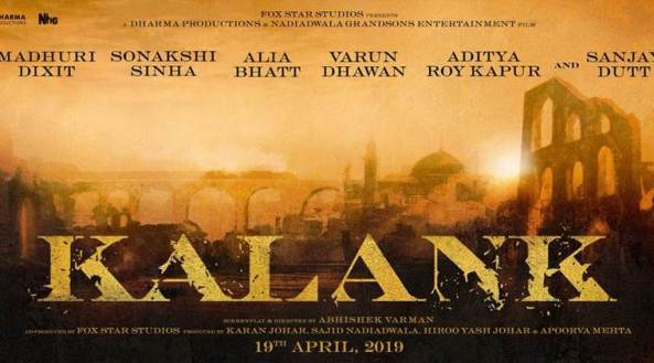 Kalank new upcoming movie first look, Poster of Sanjay, Varun, Alia, Sonakshi next movie download first look Poster, release date