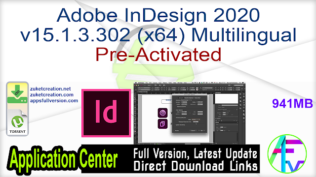 Adobe InDesign 2020 v15.1.3.302 (x64) Multilingual Pre-Activated