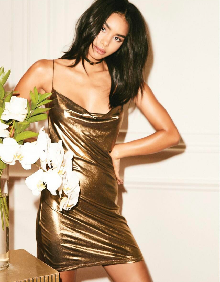 H:OURS WILLA SLIP DRESS IN GOLD